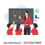 teacher giving lesson to her...   Shutterstock .eps vector #1815067889