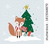 cute winter animals  merry...   Shutterstock .eps vector #1815068870