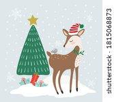 cute winter animals  merry...   Shutterstock .eps vector #1815068873