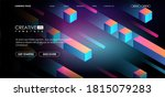 geometric 3d shapes  cubes and... | Shutterstock .eps vector #1815079283
