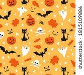 halloween seamless pattern with ... | Shutterstock .eps vector #1815109886