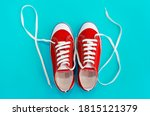 Red sports shoes sneakers with...