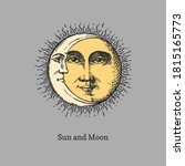 sun and moon  hand drawn in... | Shutterstock .eps vector #1815165773
