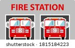 fire station icon. flat color...