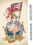 old school navy tattoo of a pin ... | Shutterstock .eps vector #181519199