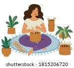woman weaving diy baskets on...   Shutterstock . vector #1815206720
