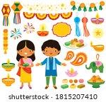 diwali clipart set. various...   Shutterstock . vector #1815207410