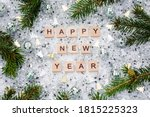 Happy New Year 2021. Wooden...
