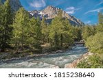 Scenic Italian Alps Summer Landscape with Mountain River. Eastern Sides of the Mont Blanc Massif.  - stock photo