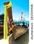 long tail boat on tropical... | Shutterstock . vector #181534508