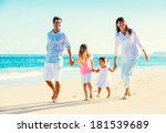 happy family having fun walking ... | Shutterstock . vector #181539689