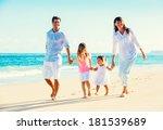 happy family having fun walking ... | Shutterstock . vector #181539689