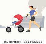 woman jogging with stroller.... | Shutterstock .eps vector #1815433133