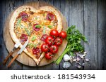 pizza heart shape with cheese... | Shutterstock . vector #181543934