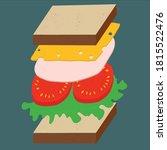 sandwich with cheese  ham ... | Shutterstock .eps vector #1815522476