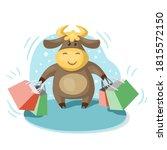 cute cartoon bull  symbol of... | Shutterstock .eps vector #1815572150