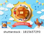 butter pancake stack with fresh ... | Shutterstock .eps vector #1815657293