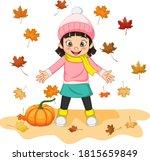 Cartoon Happy Little Girl With...
