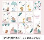 cute woodland calendar 2021... | Shutterstock .eps vector #1815673433