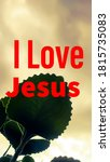 I Love Jesus Text With Leaf An...