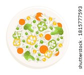 rice with vegetables on a plate ... | Shutterstock .eps vector #1815777593