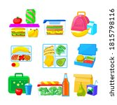 set of school lunch boxes ... | Shutterstock .eps vector #1815798116