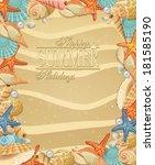 frame of seashells and... | Shutterstock . vector #181585190