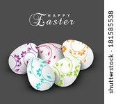 happy easter celebration card... | Shutterstock .eps vector #181585538