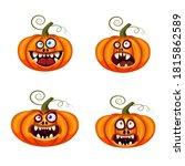 set pumpkins halloween funny...   Shutterstock .eps vector #1815862589