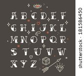 poster tattoo style font with... | Shutterstock .eps vector #181586450