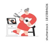 old lady in red dress learning...   Shutterstock .eps vector #1815884636