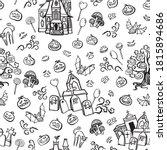 vector doodle spooky halloween... | Shutterstock .eps vector #1815894686