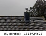Wet Old Dark Brick On Rooftop...