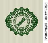 Green flashlight icon inside distress rubber grunge seal.  - stock vector