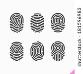 fingerprint icons set. vector. | Shutterstock .eps vector #181596983