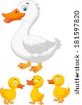 duck family cartoon | Shutterstock .eps vector #181597820