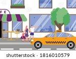 catch taxi street flat... | Shutterstock .eps vector #1816010579