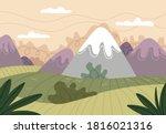 Cartoon Mountains Landscape....