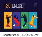 t 20 cricket text with players...   Shutterstock .eps vector #1816043399