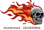 skull on fire with flames... | Shutterstock .eps vector #1816044866