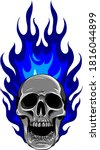 skull on fire with flames... | Shutterstock .eps vector #1816044899