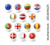 map pointers with flags. europe.... | Shutterstock .eps vector #181604624