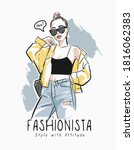 fashionista slogan with fashion ...   Shutterstock .eps vector #1816062383