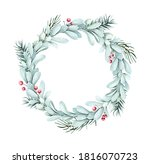 watercolor christmas wreath.... | Shutterstock . vector #1816070723