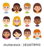 cute cartoon children avatars... | Shutterstock . vector #1816078943