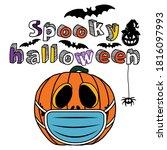 halloween pumpkin with mask and ...   Shutterstock .eps vector #1816097993