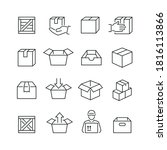 box related icons  thin vector... | Shutterstock .eps vector #1816113866
