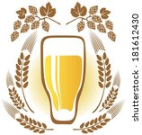 beer glass and wheat ears on a... | Shutterstock .eps vector #181612430