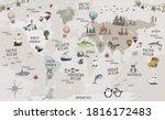 animals world map for kids... | Shutterstock . vector #1816172483