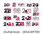 big set of 2021 happy new year... | Shutterstock .eps vector #1816189700